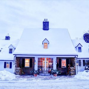 Photo of Edson Hill's Grand Entrance in Winter. Click Here for a few Stowe-Inspired New England Bachelor Party Ideas.