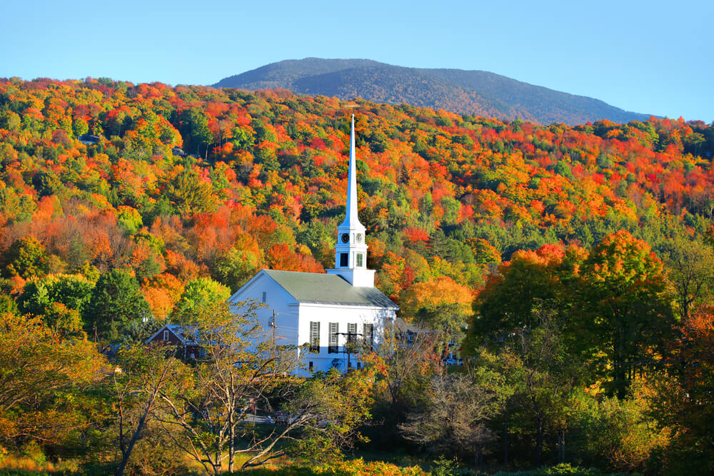Photo of Vermont Fall Foliage Surrounding the Stowe Community Church.